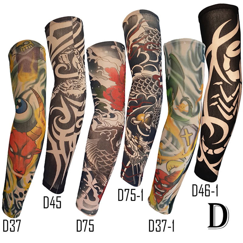 6pcs/Pack Fake Tattoo Arm Sleeve Cool Pattern Straight Style Unisex UV Protection General Outdoor Party Wearing