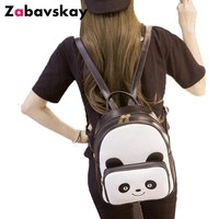 Новый Для женщин рюкзаки панда мини Девушка Сумки из искусственной кожи повседневная женская обувь рюкзак мода подростков школьная сумка ч...