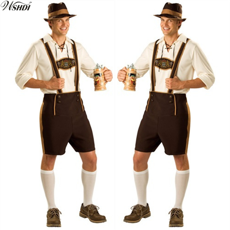 Oktoberfest Costume Lederhosen Bavarian Octoberfest German Festival Beer Halloween For Men Beer Costumes Plus Size M,L,XL,2XL(China)