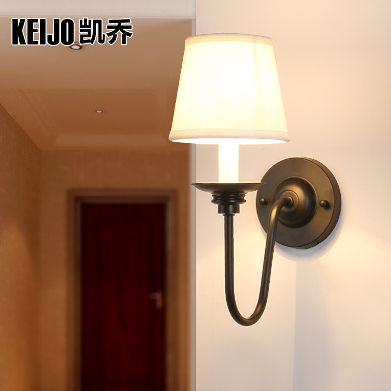 Keijo, American style Tieyi bedside lamp lens headlight bedroom study the living room wall lamp head lamp american rural wall lamp all copper bedroom berth lamp lens headlight corridor european contracted sitting room single head wal