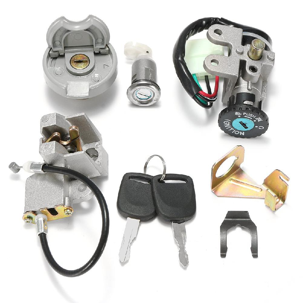 LumiParty Motorcycle Lock Set For Motorcycle For JONWAY/TAOTAO/ROKETA Ignition Switch Key Lock Gas Tank Cap Set For GY6 50CC R30