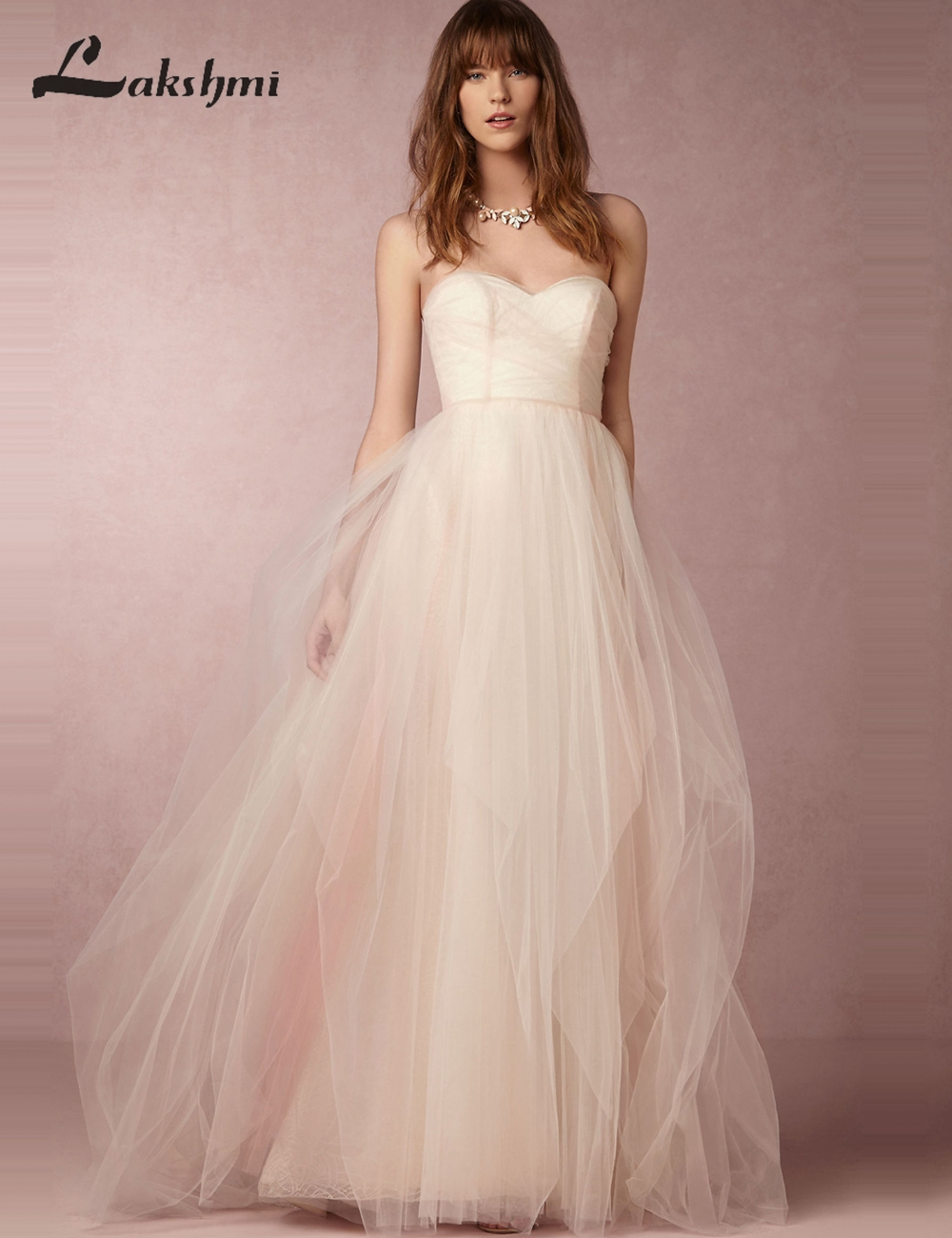 Chic Strapless Low Back Blush Wedding Dresses A line Tulle Sweep ...