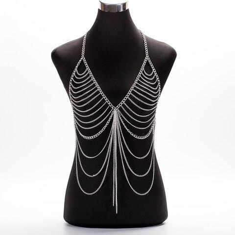 Женское длинное ожерелье бикини с кисточками золотистого цвета
