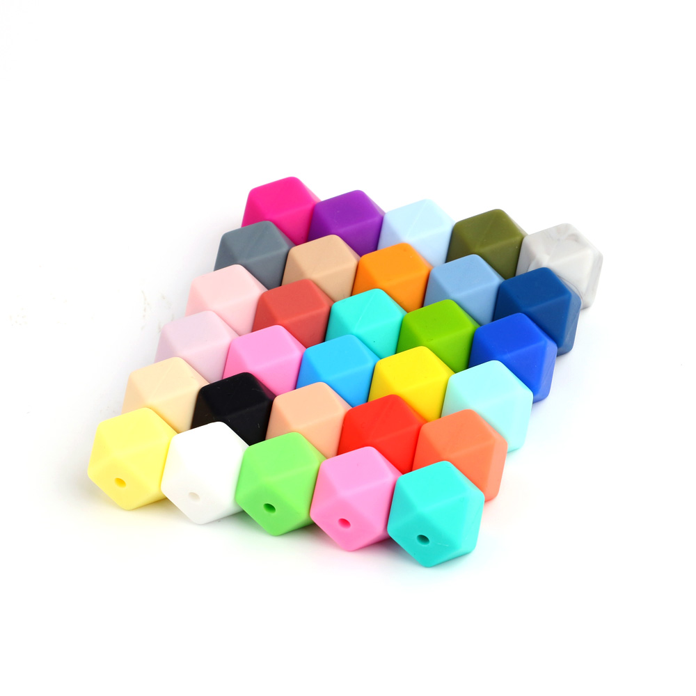 TYRY.HU 10 pieces 17mm Hexagon Shaped Silicone Beads Teething Baby Teether DIY Pacifier Chain Baby Gift Toy Food Grade
