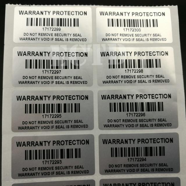 """100 piezas PROTECCIÓN DE GARANTÍA DE 1,57 """"x 0,79"""" (40mm x 20mm) pegatinas de sello de seguridad a prueba de manipulaciones"""