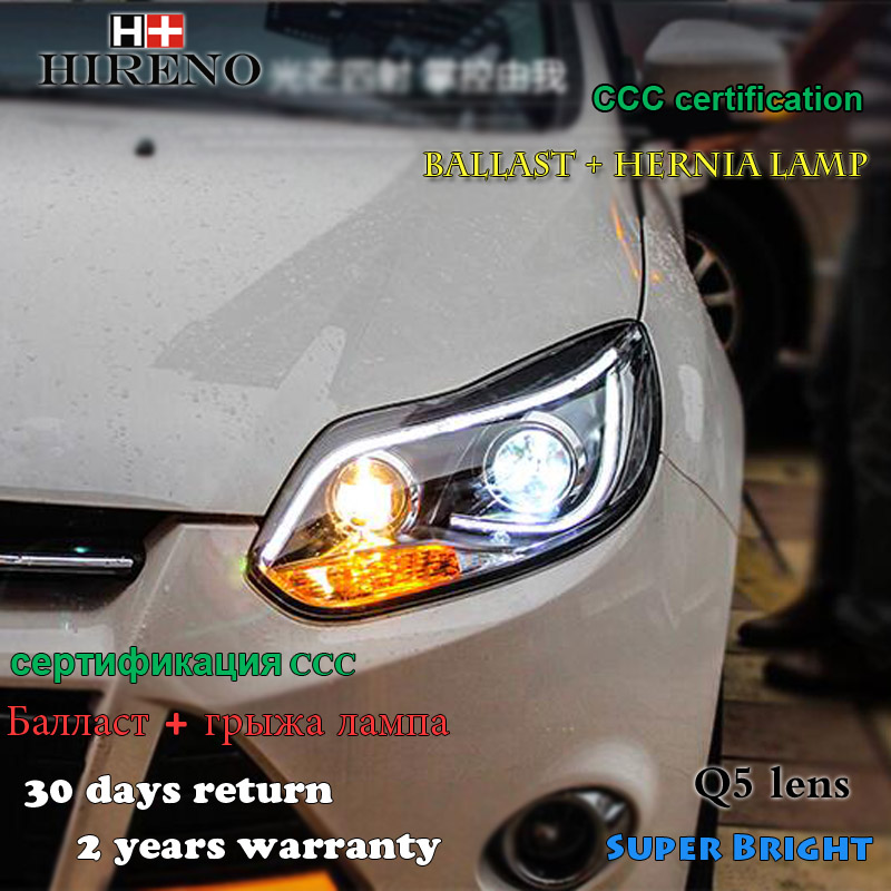 Hireno Headlamp for 2012-2014 Ford Focus Headlight Assembly LED DRL Angel Lens Double Beam HID Xenon 2pcs hireno headlamp for 2012 2014 ford ecosport headlight assembly led drl angel lens double beam hid xenon 2pcs