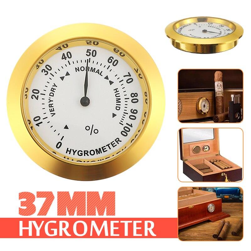 Mosaic Hygrometer 37mm Moisture Meters Cigar Tobacco Box Pointer Hygrometer Use For Humidors Smoking Humidity Sensitive Gauge