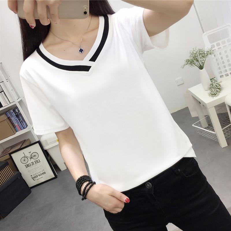 4XL 5XL Plus Size Korean Women's Clothing Fashion Big Size T-shirt Female V neck Short Sleeve Casual obesity Tee Shirt Top Femme 2