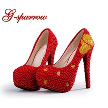 6c84edcda38496 Red Imitation Pearl Wedding Shoes with Gold Rhinestone Heart Woman Bridal  Shoes Thin Heels Annversary Ceremony Party Shoes