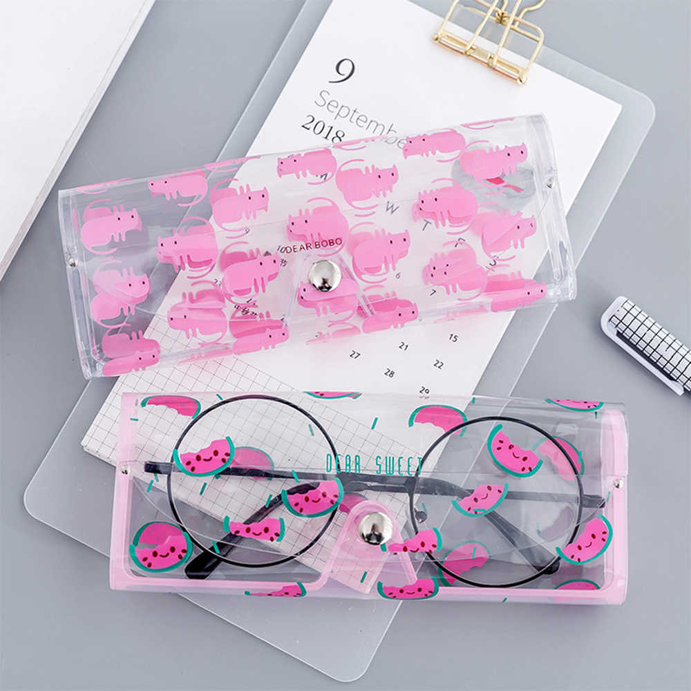 Cartoon Cute Travel Women Transparent PVC Eye Glasses Case Sunglasses Box Protection Student Pencil Case Stationery Storage Bag