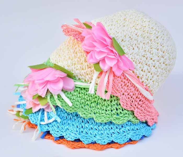 2018 Free Shipping fashion Children hats for girls Beach Hat Flower Cap Kids Straw hat Childrens Summer Sun caps 5 colors 2