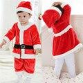 Мальчик и девочка комбинезон 2 шт. костюмы bebe флис подкладка одежда наборы новорожденных рождество Санта-Клаус младенцы Новый Год одежда