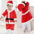 Bebé niño y niña mamelucos 2 unids trajes bebe forro polar juegos de ropa recién nacido bebés de navidad de Santa Claus Año Nuevo ropa