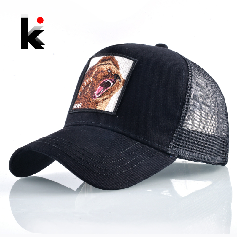 Summer Snapback Mesh   Baseball     Cap   Men Fashion Bear Embroidery Hip Hop Hat Women Outdoor Cotton Breathable Bone Trucker Gorras