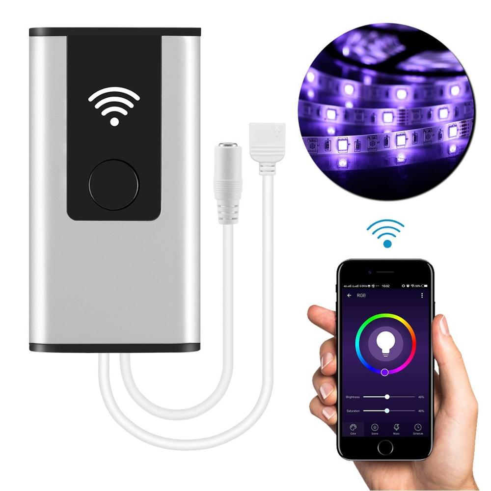 Smart WIFI Wireless Controller for LED Light Strips to Sync Light with Music in Amazon Alexa and Google Home with APP Womo Smart mini wifi rgb strip light controller with music control and voice control compatible with google home