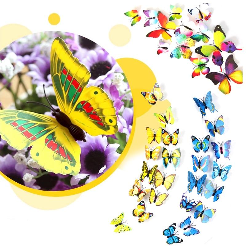 Aliexpress.com : Buy Hot Sale 12 pieces/lot 3D PVC Double Butterfly ...
