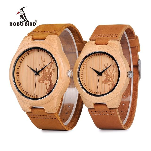 BOBO BIRD WN20 Lovers Elk Deer Head Bamboo Wooden Watch with Soft Brown Leather Strap for Men Women