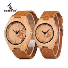 BOBO Homens Relógio Elk Cervos Cabeça de PÁSSARO de Bambu Gravura Relógios Das Mulheres com Couro Genuíno Dos Amantes Relógios de Pulso relogio masculino