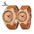 BOBO VOGEL Uhr Männer Elch Hirsche Kopf Bambus Gravur Uhren Frauen mit Echtem Leder Lovers Armbanduhren relogio masculino-in Partneruhren aus Uhren bei
