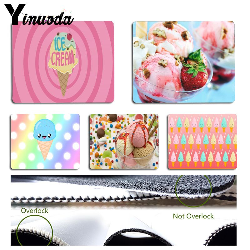 Yinuoda Non Slip PC Desert Icecream with strawberry Durable Rubber Mouse Mat Pad Size for 18x22cm 25x29cm Rubber Mousemats