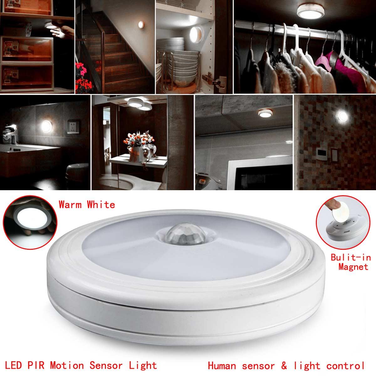 Led night light warm white - Hot Magnetic Motion Sensor Led Night Light Battery Powered 6 Led Pir Closet Hallways Wall Lamp