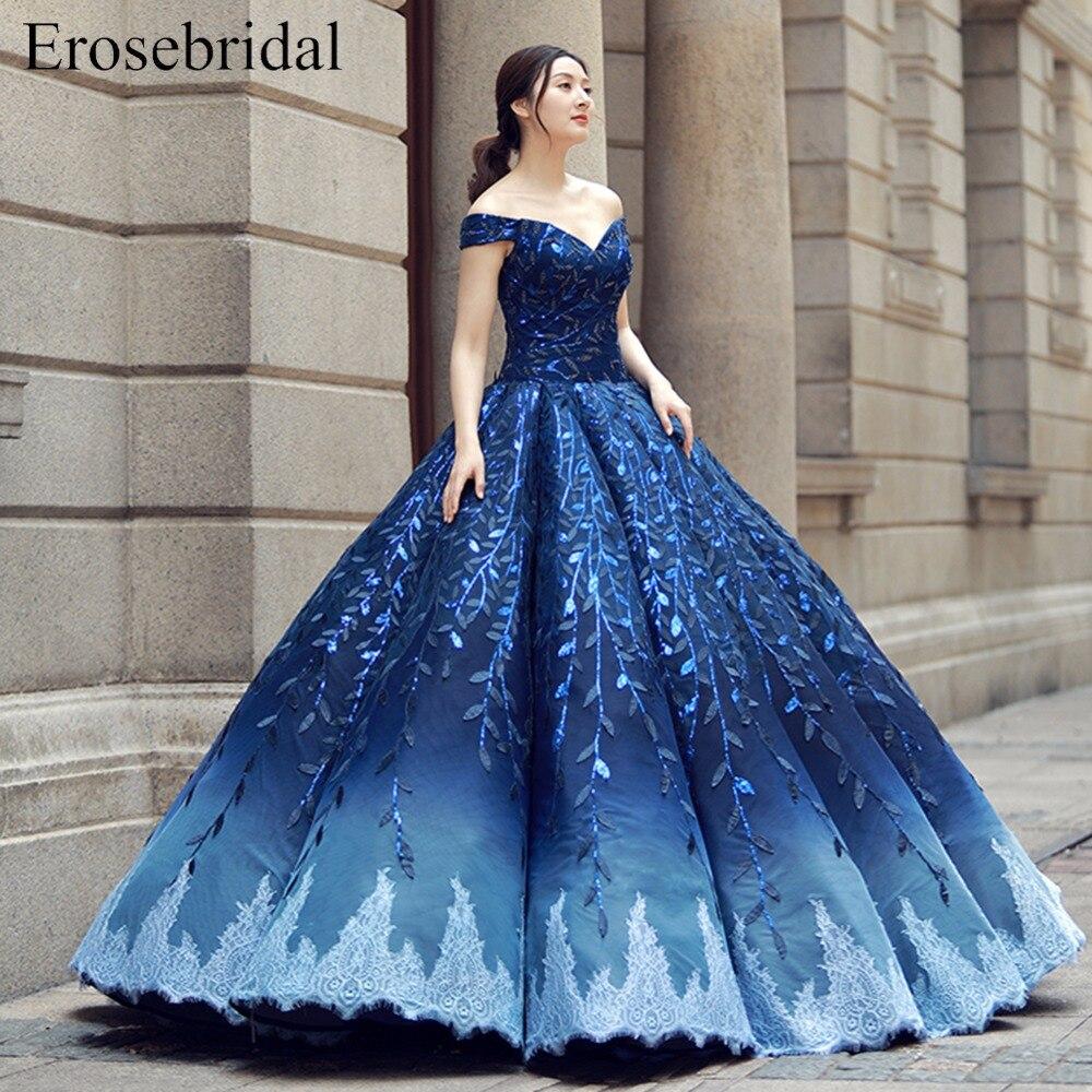 Royal Blue Evening Dress Off the shoulder Princess Party Dress Appliques Evening Gowns Lace up Ball Gown vestido de festa ES265 gown