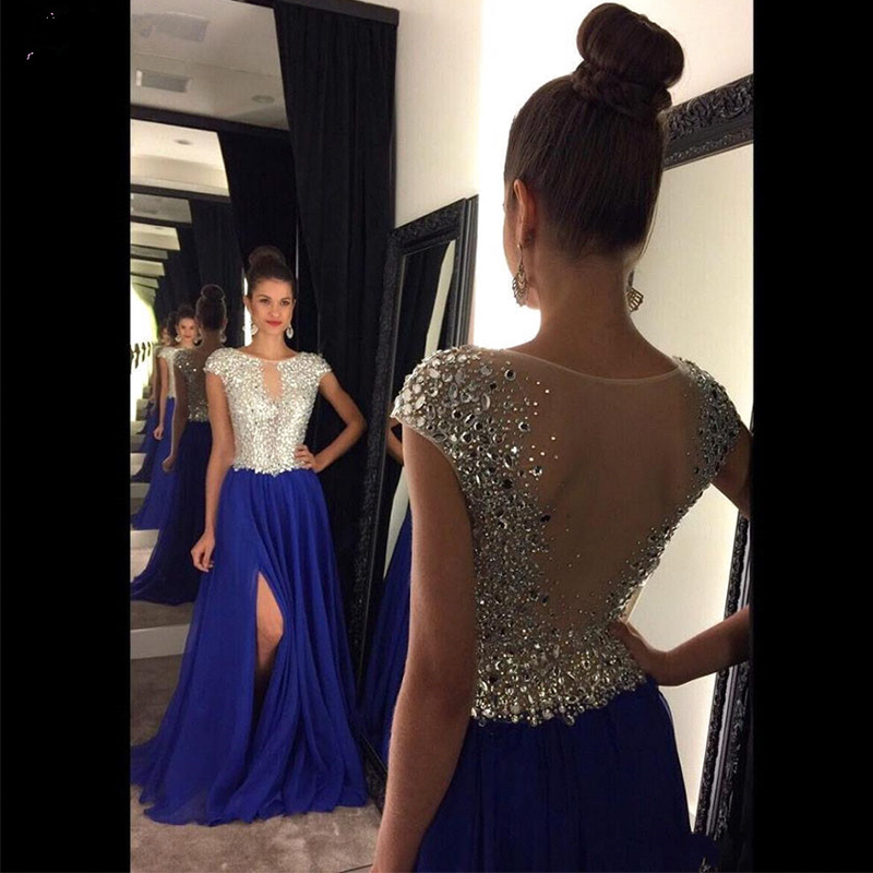 Vinca sunny Sexy   prom     dresses   with slit 2019 crysatal beading evening   dress   womens blue formal party   dress   vestido de festa