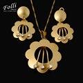 2016 Nueva Moda Grandes Aretes Collar Colgante Conjunto Para Las Mujeres de alta Calidad Dubai Oro Verdadero de La Joyería 18 K de La Cadena 45 CM