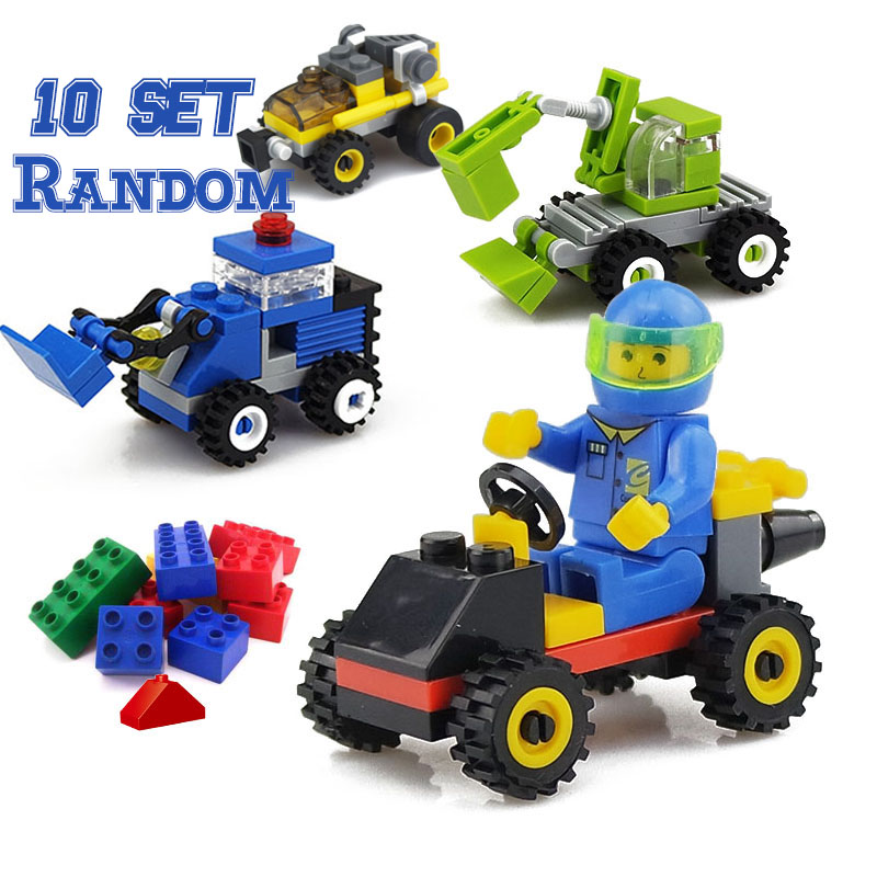10Set Mini City Build Model Building Blocks Toys Car Engineer Soldier Truck Educational Toys for Kids Gifts Random No-repeat
