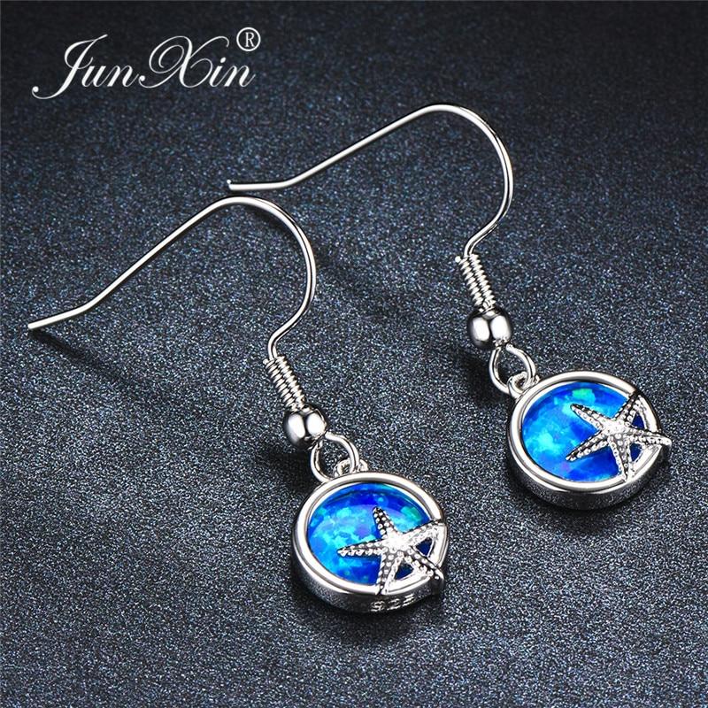 Cute Animal Starfish Drop Earrings Blue White Fire Opal Round Star Earrings For Women White Gold Fashion Beach Wedding Jewelry