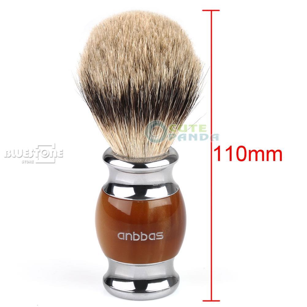 Luxury Shaving Brush Pure Silvertip Badger Hair Resin Kirsite Plated Handle New front light