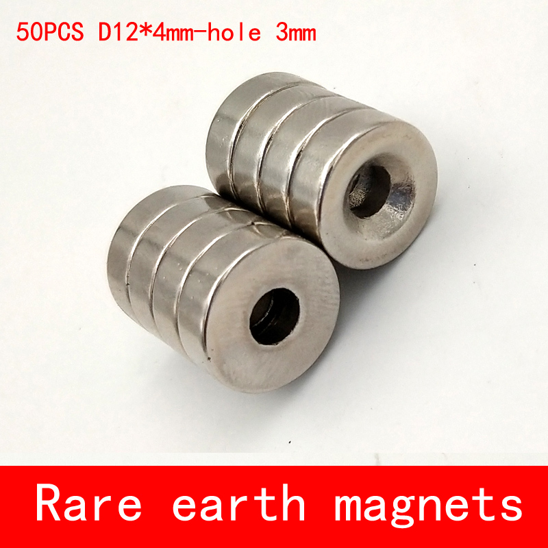 50PCS/pack dia 12*4mm hole 3mm strong Neodymium Magnet round n50