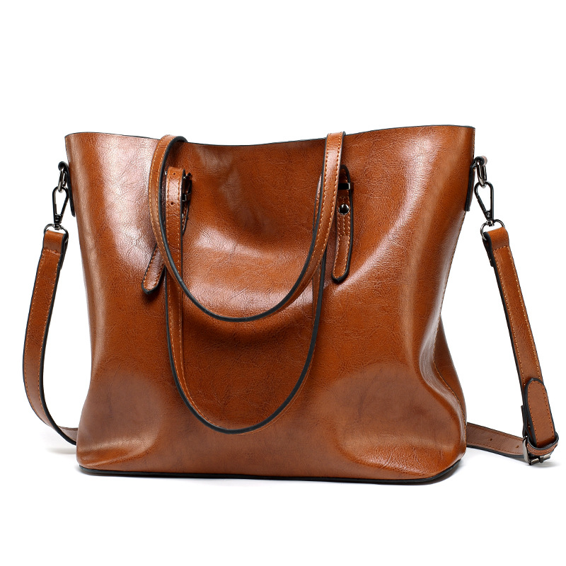 Fashion Handbag PU Oil Wax Leather <font><b>Women</b></font> <font><b>Bag</b></font> Large Capacity Handbags Tote <font><b>Big</b></font> <font><b>Shoulder</b></font> <font><b>Bags</b></font> <font><b>for</b></font> <font><b>women</b></font> <font><b>2018</b></font> Bolsas Feminina image