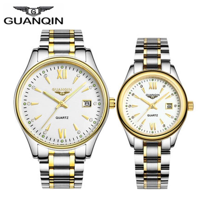 GUANQIN カップルの腕時計セット男性女性のファッション愛好家日付腕時計高級ゴールドクォーツ時計女性時計レディース腕時計  グループ上の 腕時計 からの クォーツ時計 の中 1