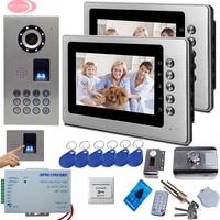 SUNFLOWERVDP 2 Apartment Building Video Intercom 7inch Color Intercom Phone Fingerprint Rfid Door Lock Video Door