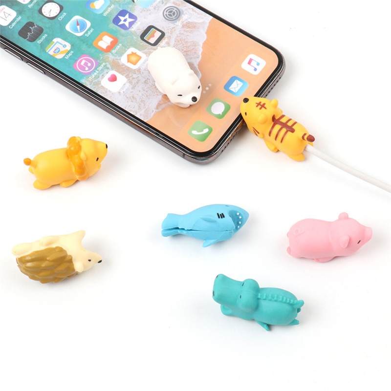 Cartoon Animals Data Line Protector Cable Bite For Iphone 11 PRO X XS Max XR 7 8 Plus 6 6S 5 5S Case For Huawei Phone Accessory