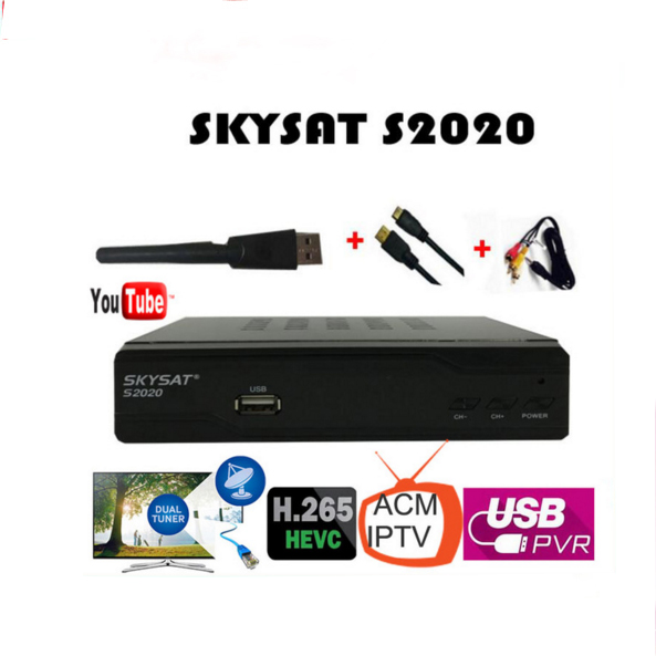 2PCS/LOT SKYSAT S2020 Twin Tuner IKS SKS ACM M3U Xtream-code H.265 Satellite Receiver most stable server for South America Euro for world skysat s2020 twin tuner receptor acm iptv h 265 powervu biss satellite receiver media player