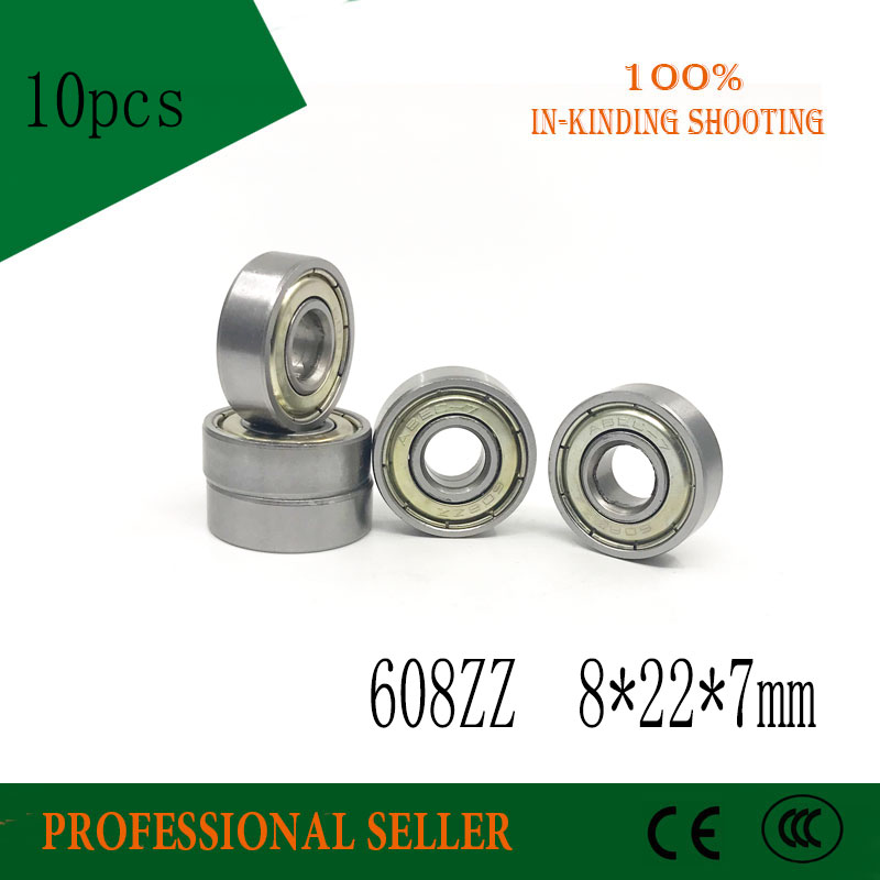 Free Shipping 10PCS 608zz Bearing Abec-7  8x22x7MM Miniature Carbon 608 Zz Longboard Skateboard Ball Bearings 608-2z 608z