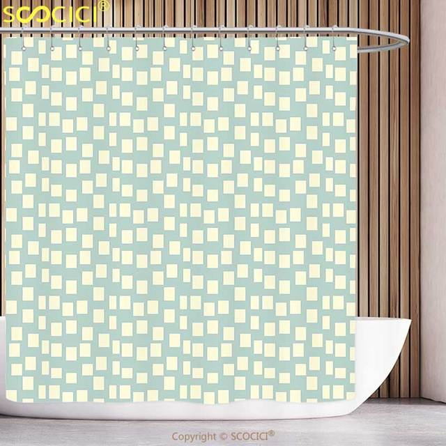 Funky Shower Curtain Modern Big And Small Asymmetrical Squares Pattern Geometric Tile Design Print Light