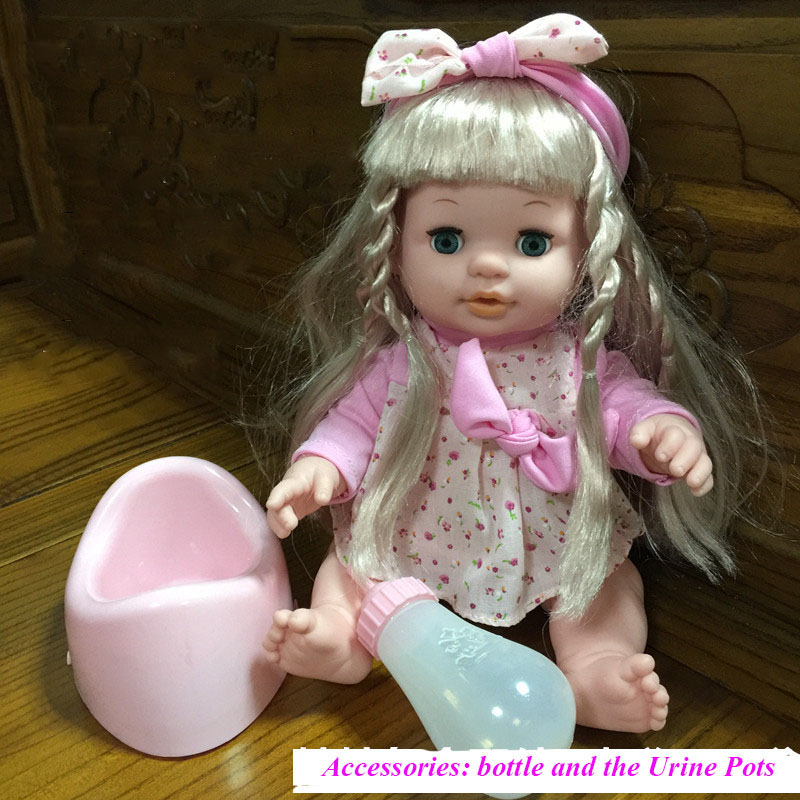 Baby toy doll can sound drink water pee and blink eye baby little girl bathing pretend play feeding kawaii dolls free shipping