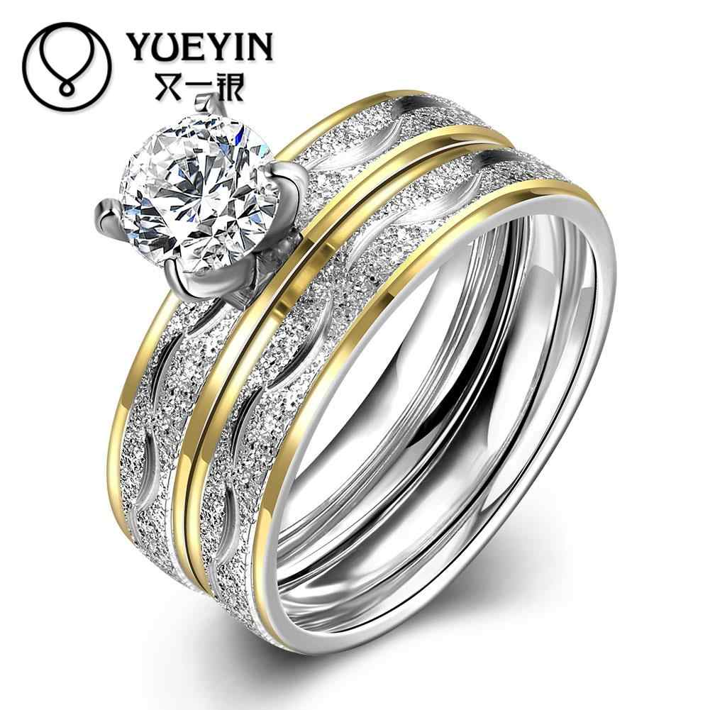 Top quality titanium steel ring for men wedding jewelry Bridal Sets Engraving letters finger rings big crystal lovers R063-A-8
