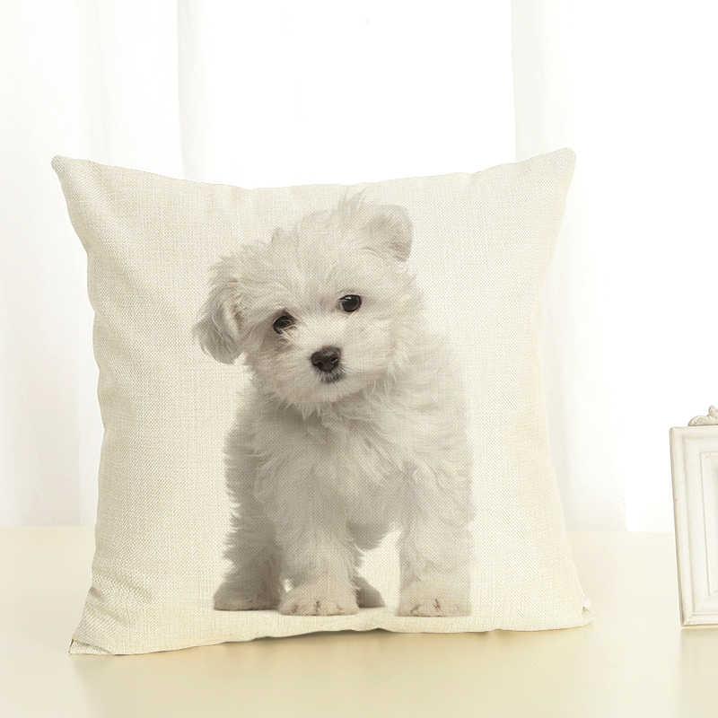 หน้าแรกตกแต่งใหม่สุนัขน่ารักพิมพ์ผ้าลินินหมอนตกแต่งโยนฝาครอบหมอนสำหรับโซฟาเบาะกรณี