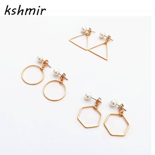 Fashion pearl earrings for women Delicate contracted fashion pearl triangle circ