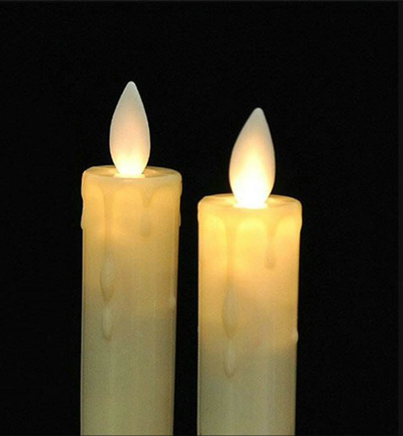 50 stks Swingende Gedoopt Wax Moving Wick Dancing Flame Led Taper stick kaars lamp Thuis Wedding Xmas Bar party Kerk decor 21 cm (H)-in Kaarsen van Huis & Tuin op  Groep 1