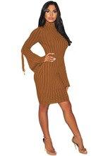 Hiver Flare Manches Longues Tricoté Moulante Robe En Dentelle Up Oeillet Côté paquet Hanche Casual Mini Robes 3 Couleurs Plus Taille Femme Robe