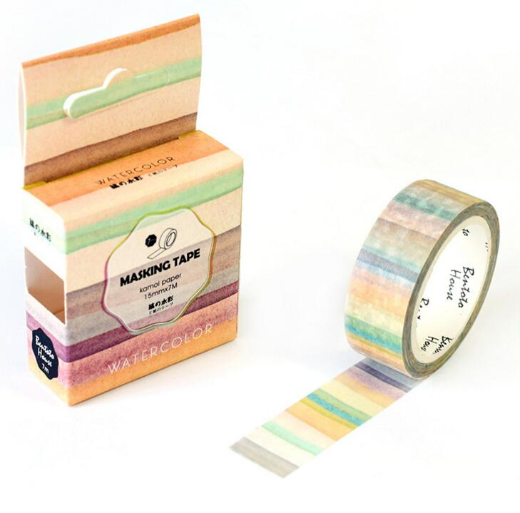 JA305 The Stripes of Gradient Color Decorative Washi Tape DIY Scrapbooking Masking Tape School Office Supply Escolar Papelaria 0 8cm 8m the seventh season slim decorative washi tape scotch diy scrapbooking masking craft tape school office supply