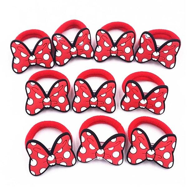 10 шт., Детские эластичные резинки для волос, с бантом