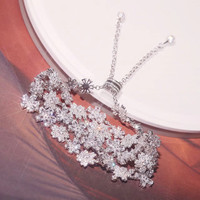 Модные дизайнерские 925 пробы Серебряные ювелирные изделия 3A кубического циркония вечерние регулируемый браслет