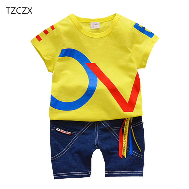 TZCZX-2025 New Summer Children Baby Boys Sets Fashion Geometric Printed Suit For 9 Month to 4 Years Old Kids Wear Clothes 2016 new summer baby sport suit 100