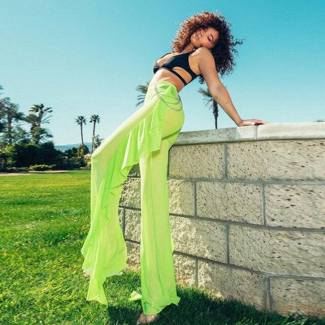 Women Sexy Ruffle Beach Mesh Pants Sheer Wide Leg Pants Transparent 3